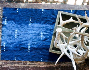 Indigo Table Runner - Shibori Linen Natural Dye, Rustic Christmas Table Runner, Spring Decor