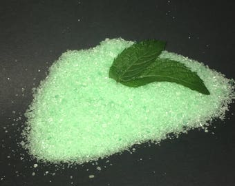 Save the Sea Turtles! Rosemary Mint Bath Salts with freshly picked mint leaves!