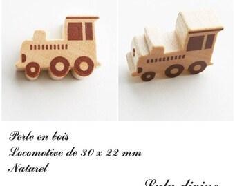 30 x 22 mm wood bead, Pearl flat Train / Locomotive: natural