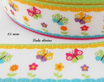 Gros-grain edge Ribbon colorful multicolor Butterfly 25 mm sold by 50 cm