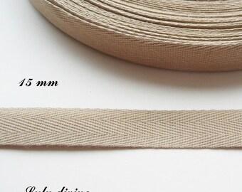 Ribbon Twill Beige 15 mm 1.50 cm the meter