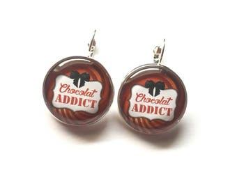 "Earrings original ""Chocolate Addict"" personalized, fun, humor"