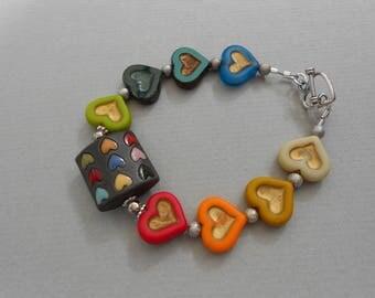 Heart bracelet, Multicolour bracelet, Golem Ceramic bracelet, Glass bead bracelet