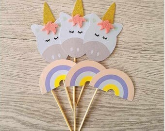 Set of Ten Unicorn and Rainbow Cupcake Toppers