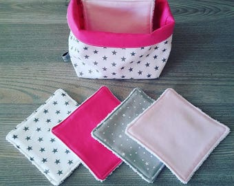 whole set of 8 wipes with matching basket theme light powder pink and white and Fuchsia
