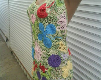 Beach knitted tunic with lacing on the back