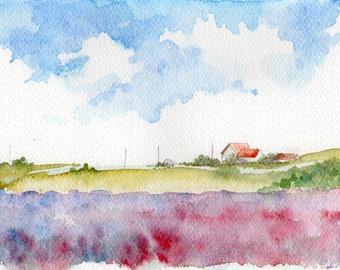 "original watercolor ""Pieniążkowo village"""
