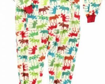 Adult Christmas Pajamas Onesie Patterned Moose Christmas Pajamas Adult Pajamas Onesie Christmas Moose Pajamas Adult PJ's
