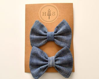 Baby bow | baby girl bow | baby girl bow with clip | baby accessories | chambray bow | pigtail baby bow | hair bow set | school girl bow