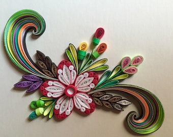 Flower Design: Handmade Quilling Art Gift-Quilled Art Flower-Wall Art Picture-House Warming Gift-Special Flower Design-Gift For Occasions