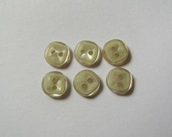 Set of 6 Mini plain square buttons green clear 8mm