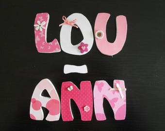 Name with LOU - ANN custom wooden letters