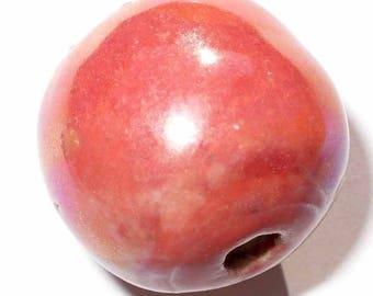 1 Pearl ceramic round 18 mm CERC15 rougre