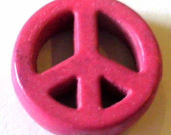 1 Pearl Peace an love 15mm pink Howlite PNR39Rose
