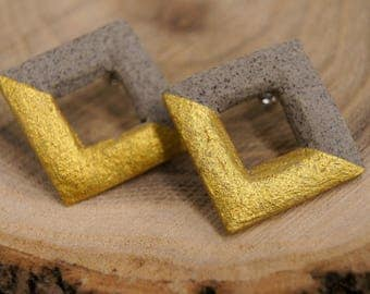 Earrings gold grey square, geometric shape, ceramics, concrete
