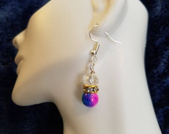 Clear, pink/blue and crystal dangle earrings