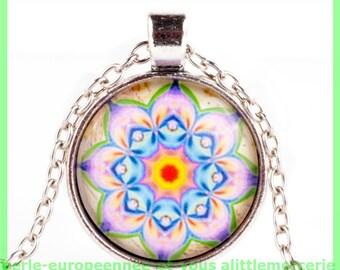 cabochon glass 65 rosette charm pendant
