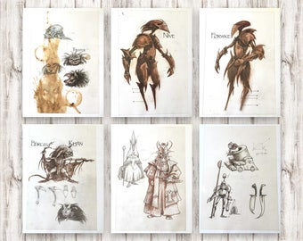 Goblins from Labyrinth. Vintage book illustration. Concept film art by Brian Froud. Goblin drawings for framing. Boy Gift set of A4 prints