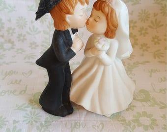 Lefton Kissing Bride and Groom Figurine or Wedding Cake Topper 03567