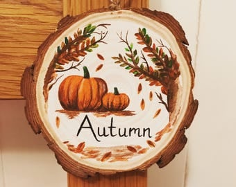 Autumn decoration, hello autumn plaque, new season decor, pumpkin and autumn  leaves art