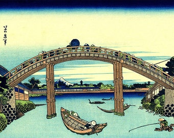 ORIGINAL TABLE SET, plastic, WASHABLE and durable - Hokusai. Fukagawa - classic Mannen bridge.