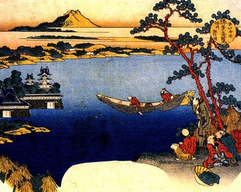 ORIGINAL TABLE SET, plastic, WASHABLE and durable - Hokusai. View of Lake Suwa - classic.