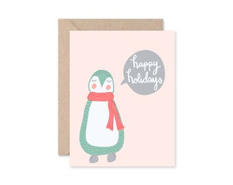 Penguin Card, Happy Holidays, Merry Christmas, Pink Penguin Card