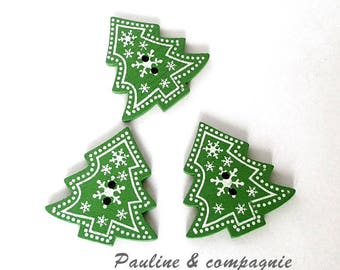 6 Christmas tree wooden buttons