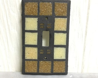Single toggle brown stained glass light switch cover plate