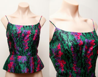 Vintage 1950s / 1960s Saks Fifth Avenue Silk Floral Fitted Bustier Peplum top