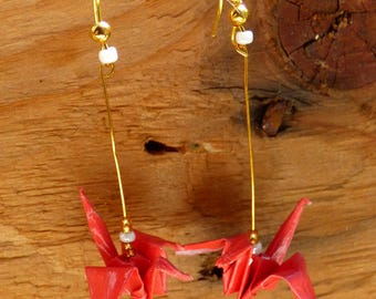 Origami crane coral earrings