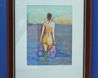Nude female: watercolor on paper: bather in Brittany back