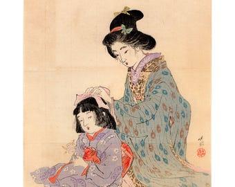 Sisters (Otake Chikuha) N.1 kuchi-e woodblock print