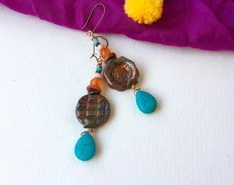 """Earring """"Manaus"""" Bohemian chic, rustic earring, ethnic earring, french earring, dangle earring, hippie earrings, Bohemian earring, gif for her"""