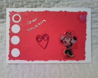 Girl Minnie birthday card: mouse flirtatious, red and white