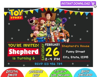SALE 80% OFF: Toy Story Invitation, Toy Story Instant Download Invitation, Toy Story Invitations, Toy Story Birthday Invitation, Toy Story