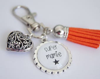 SUPER GRANNY BAG CHARM KEY RING - ORANGE