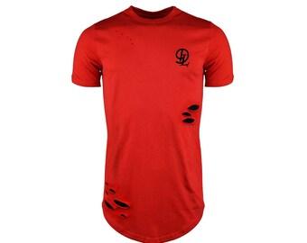 Mens Longline T-shirt ripped distressed top curved hem tee