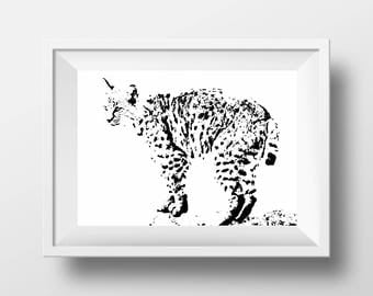 Bobcat print etsy for Minimal art vzla