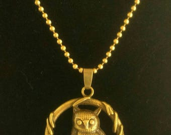 """The big OWL on his perch"" bronze necklace"