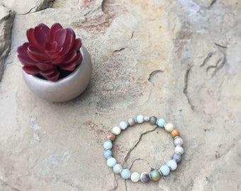 Amazonite Gemstone Bead Stretch Bracelet