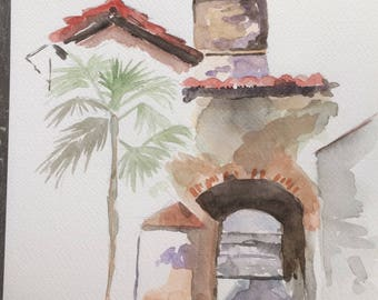 Watercolor painting landscape Tower