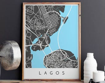 Lagos Map Print, Lagos Print, Lagos Map, Lagos Poster, Lagos Art, Modern Map Print, Map of Lagos, Lagos City Map, City Map Print
