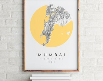 Mumbai Map, Mumbai Map Print, Mumbai Print, Minimalist Map, Home Map, City Map Print, Modern Map, Modern Map Print, Minimalist City Map