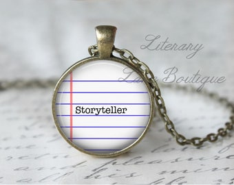 Storyteller, Writer, Write, Writing Quote Necklace or Keyring, Keychain.