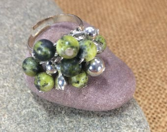Yellow turquoise gemstone cluster ring (adjustable multi size) with silver plated decoration and silver plated  base