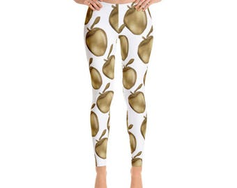 Women's Leggings | Golden Apple Leggings | Planner Girl // Gift For Her, Planner Gift, Mother's Day Gift