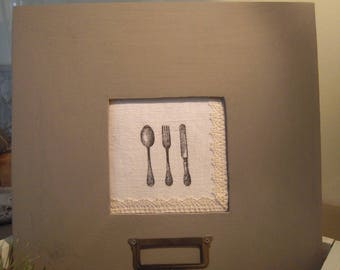 Distressed frame, taupe, cloth and lace, silver...