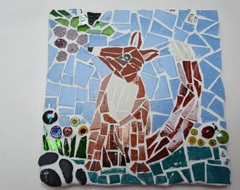 fox and grapes mosaic tile