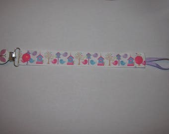 Pacifier clip birds and their cabins, painted metal Butterfly clip